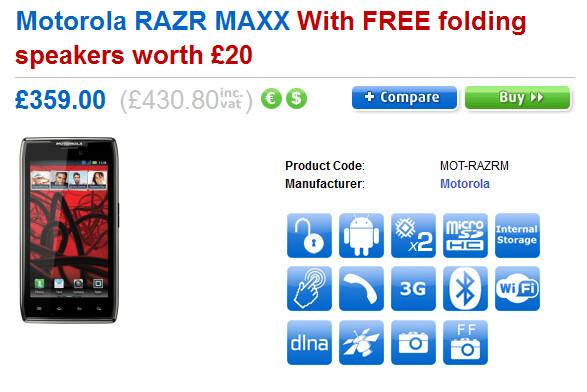 Pre-order the Motorola RAZR MAXX from Clove and get a free Motorola MOTOROKR EQ3 folding speaker (R) - Motorola RAZR MAXX priced for U.K. pre-order