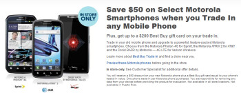 Save $50 on certain Motorola phones at Best Buy by trading in your old model
