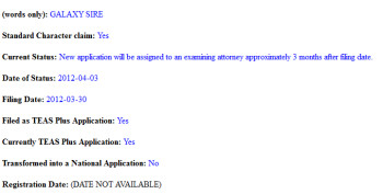 Samsung has filed to trademark Galaxy Sire and two other names