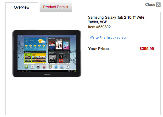 Office Depot's website showed the Samsung Galaxy Tab 2 (10.1) for $399.99 - Office Depot site leaks pricing for Samsung Galaxy Tab 2 (10.1)