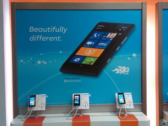 In-store promotion for the Nokia Lumia 900 at AT&T - AT&T promotes Nokia Lumia 900 launch with huge signs; phone available in stores today