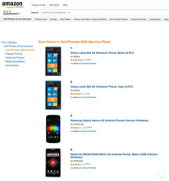 Lumia 900 shoots to the top of Amazon phone sales