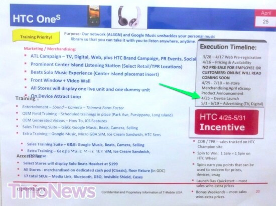 These training slides show an April 25th launch date for the HTC One S via T-Mobile - HTC One S to launch via T-Mobile on April 25th according to training slides