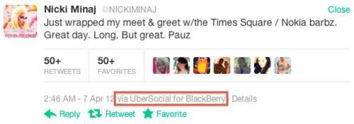 Nicki Minaj used a BlackBerry to tweet about her Nokia and Windows Phone show
