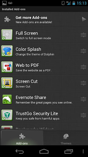 Screenshots of the updated Dolphin Browser HD include the new Sonar-Gesture home page (L) and the new menu bar (R)