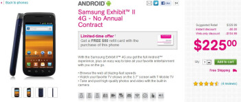 Samsung Exhibit II bundled with a $50 T-Mobile refill card is on sale for $225 online