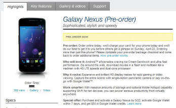 Sprint's pre-order page for the Samsung Galaxy Nexus is now live; mentions April 22nd release