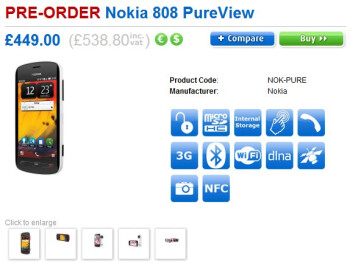 Pre-orders for the Nokia 808 PureView in the UK reveal a $711 price tag