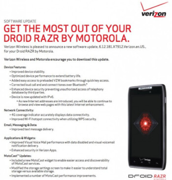 Software update for the Motorola DROID RAZR and DROID RAZR MAXX rolling out