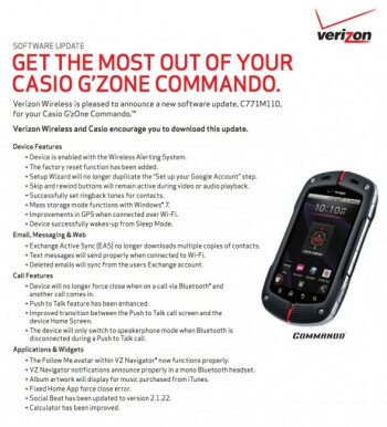 Casio G'Zone gets updated GPS, Push-to-Talk, and bloatware