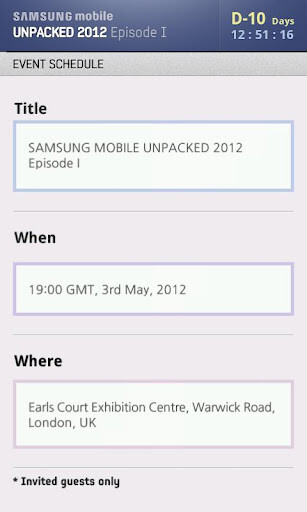 The Samsung UNPACKED 2012 app
