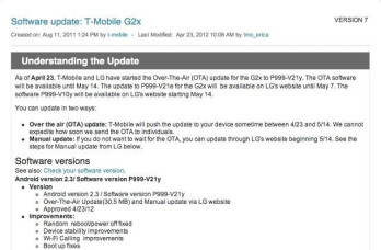 T-Mobile G2x finally getting officially updated to... Gingerbread