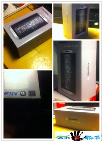 Leaked photo allegedly showing the packaging for the BlackBerry London (L) which is claimed to be the device on the right