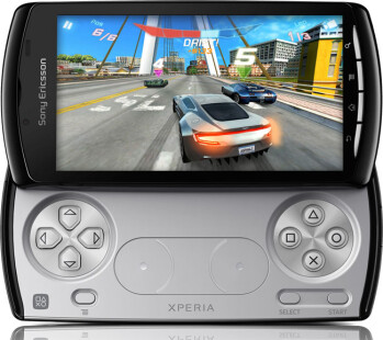 The Sony Ericsson Xperia PLAY at left with the scratched double slider design at right