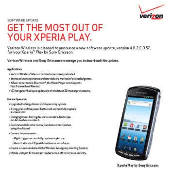 Verizon's Sony Ericsson Xperia PLAY gets an update