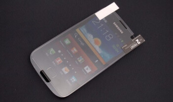 The screen protector for the Samsung Galaxy S III overlayed on the Samsung Galaxy S II