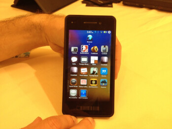 The BlackBerry Alpha Developer's handset loaded with BlackBerry 10 OS