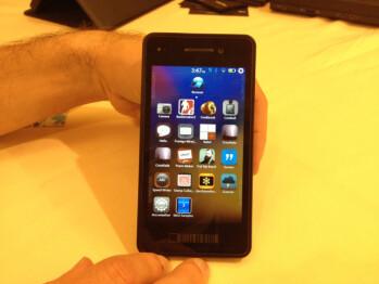 The BlackBerry Alpha Developer's handset loaded with BlackBerry 10 OS