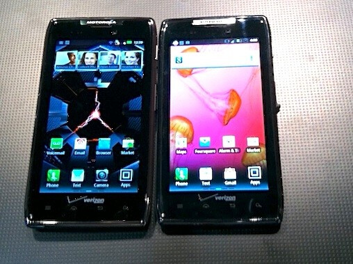 From left to right Motorola DROID RAZR MAXX, Motorola DROID RAZR, LG Lucid and Apple iPhone 4S - CNN: Verizon reps pushing Android over the Apple iPhone