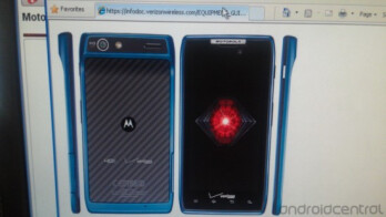 A pair of screenshots reveal a blue version of the Motorola DROID RAZR set to be released on May 17th