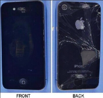 The damage to the Apple iPhone (L) was partially caused by a faulty repair that left a screw in the battery cavity, according to the FCC, where it shorted out the battery terminal