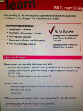 Leaked T-Mobile screenshots show that the carrier is changing how it will charge new post-paid customers