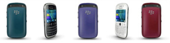 The BlackBerry Curve 9320 in various colors