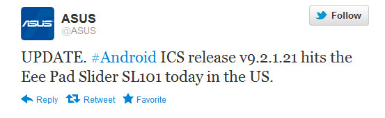 The tweet from Asus about its latest tablet to receive an Android 4.0 update - Tweet news: Android 4.0 update comes to Asus Eee Pad Slider
