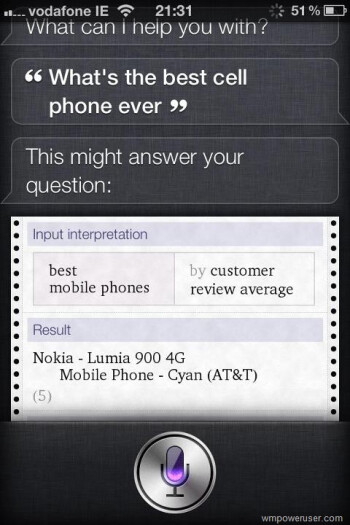 Nokia Lumia 900 is the best phone ever, Siri says so