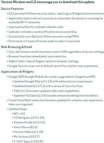 LG Spectrum to receive massive software update