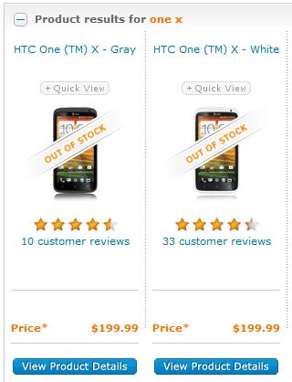"""AT&T's HTC One X is listed as being """"out of stock"""" on its website"""