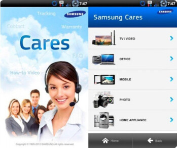 Samsung's Cares app for Android provides detailed info regarding various Samsung products