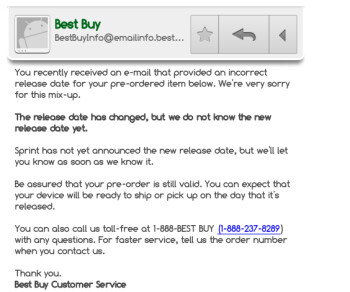 New email from Best buy leaves out May 23rd release date