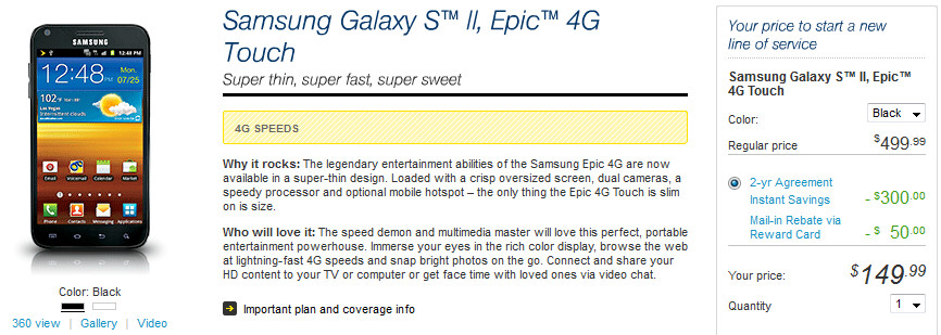 Sprint has cut the price on its version of the Samsung Galaxy S II - Samsung Epic 4G Touch cut to $149.99 at Sprint