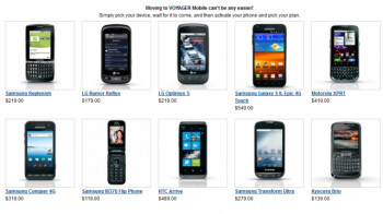 Some of the phones available from Voyager Mobile