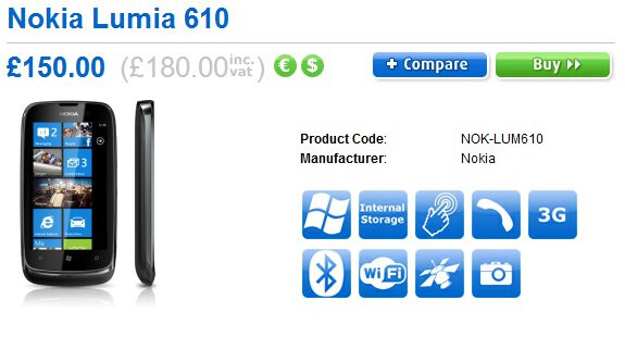 Nokia Lumia 610 comes to the UK courtesy of Clove for $285 unlocked