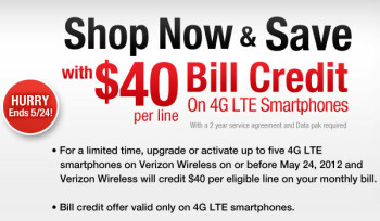 Wirefly's deal can get you a $40 credit on your Verizon bill for each 4G LTE smartphone activation