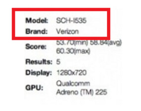 The SCH-I535 is a Verizon model according to the Nenamark Benchmark site