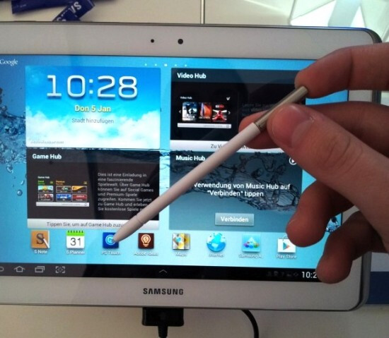 The Samsung GALAXY Note 10.1 tablet and accessories including the S Pen holder - Samsung GALAXY Note 10.1 now comes with quad-core Exynos processor and slot for S Pen