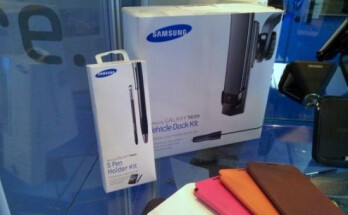 The Samsung GALAXY Note 10.1 tablet and accessories including the S Pen holder