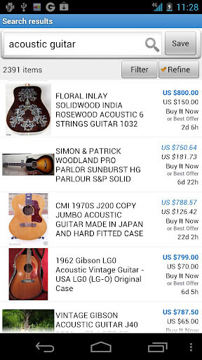 Images from the eBay for Android app