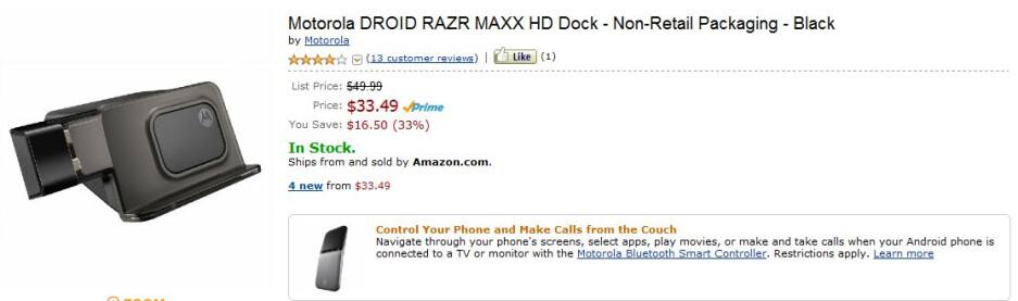 Motorola DROID RAZR MAXX HD Dock is selling at $34 through Amazon