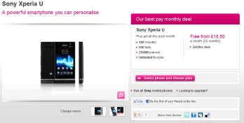 T-Mobile UK customers can snag a free Sony Xperia U on monthly plans that start at £15.50