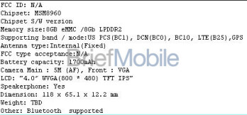 Leaked specs (L) and a photo are the latest leaks for the LG Cayenne