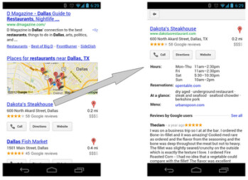 Google updates mobile search to improve your ability to find a good steakhouse