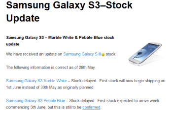 Clove says the Samsung Galaxy S III (R) is delayed in the U.K.