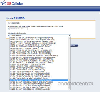 This leaked screenshot from U.S. Cellular's internal system shows the Samsung Galaxy S III