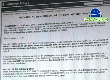 A leaked internal Best Buy email says the HTC EVO 4G LTE will be released Saturday