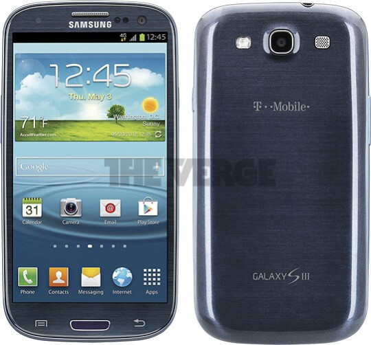 T-Mobile's model in blue - Alleged photos of T-Mobile's Samsung Galaxy S III look just like international model