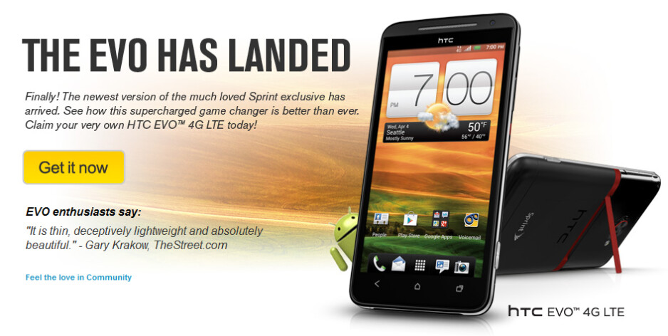 After a little detour, the HTC EVO 4G LTE is now available at Sprint - HTC EVO 4G LTE officialy launched by Sprint, kickstand and all